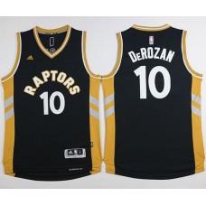 Toronto Raptors 10 Demar Derozan Black and Gold jersey
