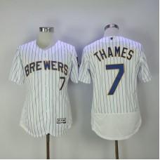 2017 Men MLB Milwaukee Brewers 7 Thames White Elite Jerseys