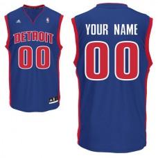 Men Adidas Detroit Pistons Custom Replica Road Blue NBA Jersey