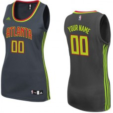 Women Atlanta Hawks Adidas Black Custom Replica Road NBA Jersey