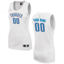 Women Oklahoma City Thunder Adidas White Custom Fashion NBA Jersey
