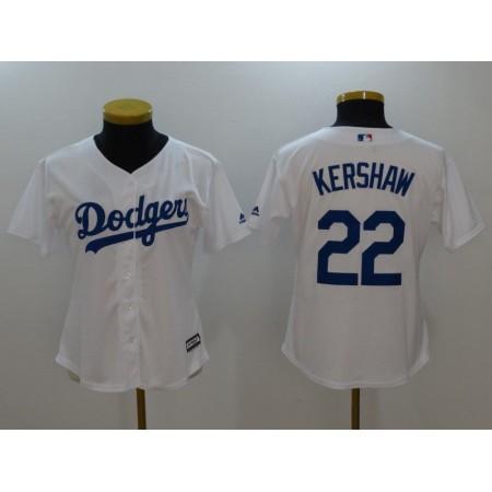 Womens 2017 MLB Los Angeles Dodgers 22 Kershaw White Jerseys