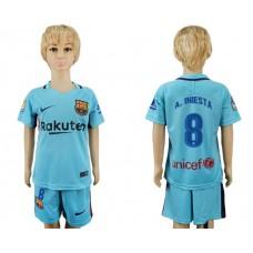 2017-2018 club barcelona aeay kids 8 soccer jersey