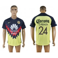 Men 2017-2018 Club America home aaa version 24 yellow soccer jersey