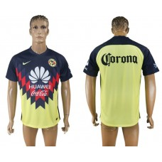 Men 2017-2018 Club America home aaa version yellow soccer jersey