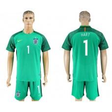 Men 2017-2018 National England green goalkeeper 1 Hart soccer jersey