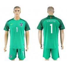 Men 2017-2018 National England green goalkeeper 1 soccer jersey