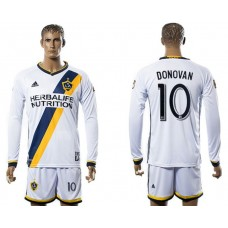 Men 2017-2018 club Los Angeles Galaxy home long sleeve 10 Donovan soccer jersey
