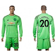 Men 2017-2018 club Manchester United green long sleeve goalkeeper 20 S Romero Soccer jersey
