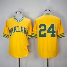 Men Oakland Athletics 24 Rickey Henderson Yellow 1981 Game Throwback MLB Jerseys