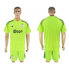 Men 2017-2018 club Ajax goalkeeper blank fluorescent green soccer jersey