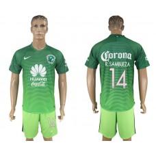 Men 2017-2018 club American team second away 14 green soccer jersey