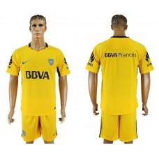 Men 2017-2018 club Boca Juniors away blank yellow soccer jersey