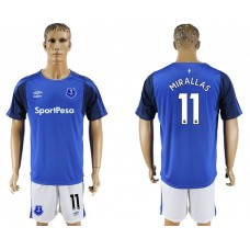Men 2017-2018 club Everton FC home 11 blue soccer jersey