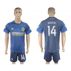Men 2017-2018 club LA Galaxy away 14 blue soccer jersey