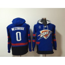 Men 2017 NBA Oklahoma City Thunder 0 Russell Westbrook blue Hoodie