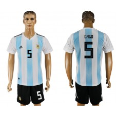 Men 2018 World Cup Argentina home 5 white soccer jersey