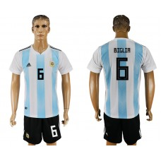 Men 2018 World Cup Argentina home 6 white soccer jersey
