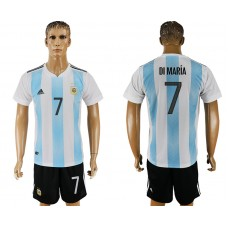 Men 2018 World Cup Argentina home 7 white soccer jersey1