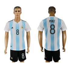 Men 2018 World Cup Argentina home 8 white soccer jersey