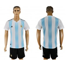 Men 2018 World Cup Argentina home blank white soccer jersey