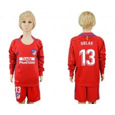 2017-2018 club Atletico Madrid red goalkeeper Long sleeve kids 13 soccer jerseys