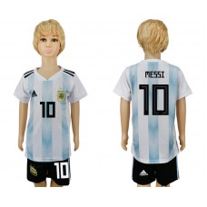 2018 World Cup Argentina home kids 10 white soccer jersey