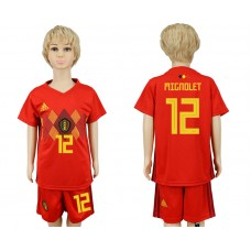 2018 World Cup Belgium home kids 12 red soccer jersey