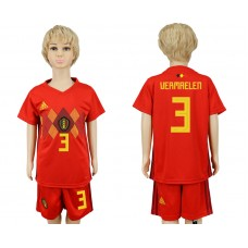 2018 World Cup Belgium home kids 3 red soccer jersey