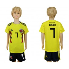 2018 World Cup Colombia home kids 7 yellow soccer jersey