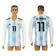 Men 2018 World Cup Argentina home long sleeve aaa version 11 white soccer jersey