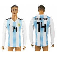 Men 2018 World Cup Argentina home long sleeve aaa version 14 white soccer jersey