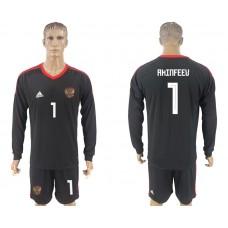 Men 2018 World Cup National Russia goalkeeper black long sleeve 1 soccer jersey