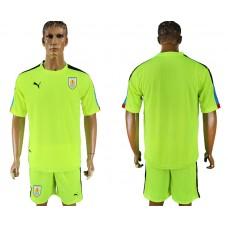 Men 2018 World Cup National Uruguay fluorescent green goalkeeper soccer jersey