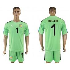 Men 2018 World Cup National Uruguay green goalkeeper 1 soccer jersey