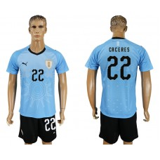 Men 2018 World Cup National Uruguay home 22 blue soccer jersey