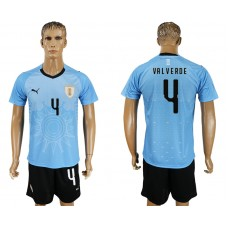 Men 2018 World Cup National Uruguay home 4 blue soccer jersey