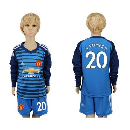 2017-2018 club Manchester united goalkeeper kids Long sleeve 20 soccer jersey