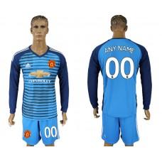 Men 2017-2018 club Manchester united Lake blue goalkeeper long sleeve customized soccer jersey