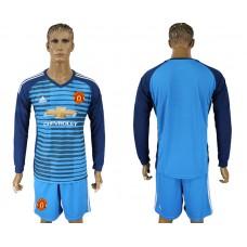 Men 2017-2018 club Manchester united Lake blue goalkeeper long sleeve soccer jersey