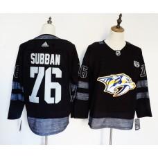Men Nashville Predators 76 Subban Black 100th Anniversary Stitched Adidas NHL Jerseys