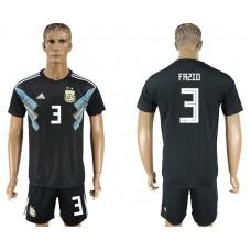 Men 2018 World cup Argentina away 3 black soccer jersey