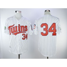 Men Minnesota Twins 34 Puckett White Throwback MLB Jerseys
