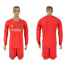 2018-2019 Club Men New York City red goalkeeper long sleeve soccer jersey