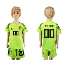 Youth 2018 World Cup Belgium fluorescent green goalkeeper customized soccer jersey