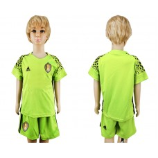 Youth 2018 World Cup Belgium fluorescent green goalkeeper soccer jersey