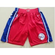 2018 Men NBA Nike Philadelphia 76ers red shorts