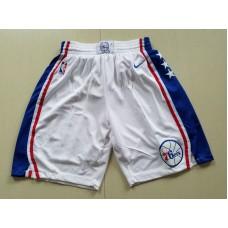2018 Men NBA Nike Philadelphia 76ers white shorts