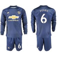 Men 2018-2019 club Manchester united away long sleeve 6 blue soccer jersey