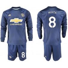 Men 2018-2019 club Manchester united away long sleeve 8 blue soccer jersey